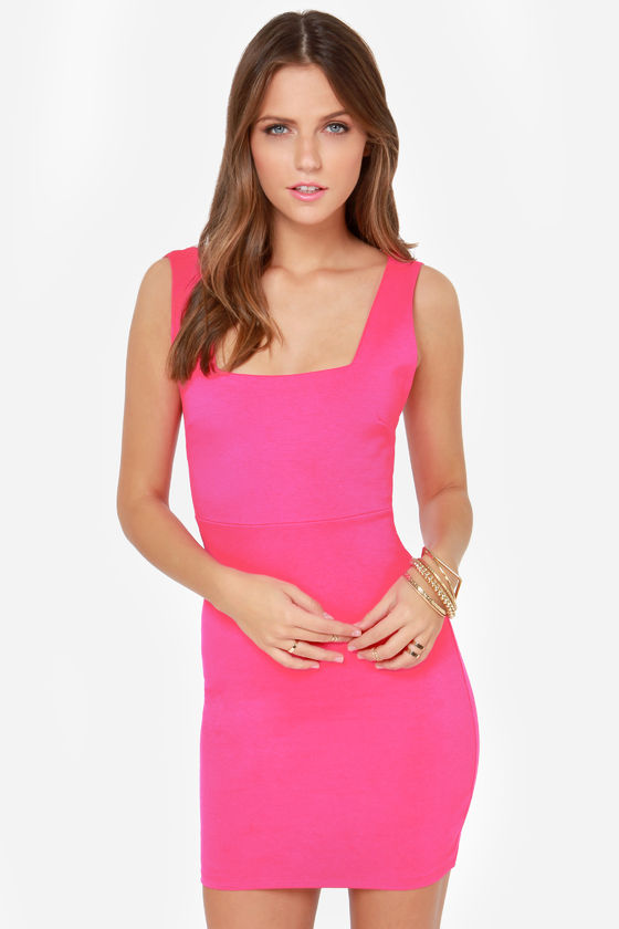 Sexy Hot Pink Dress - Bodycon Dress - Cage Dress - $42.00