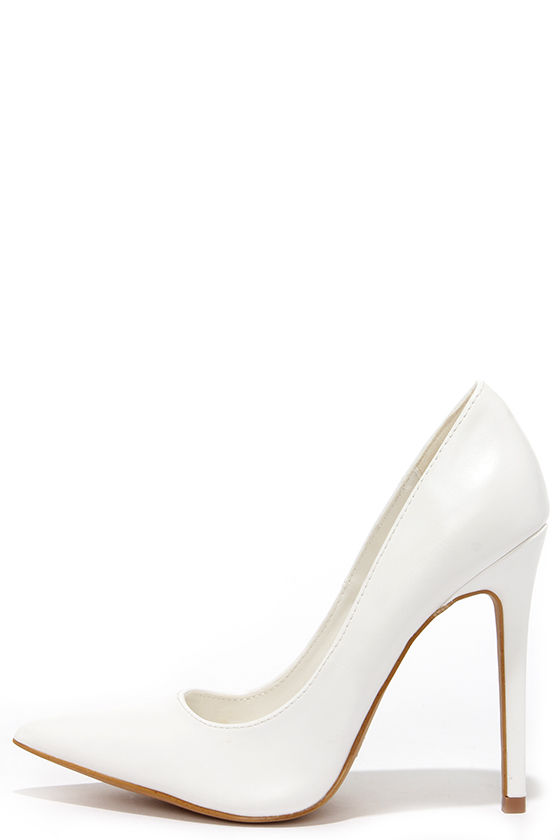 Pretty White Pumps - Pointed Pumps - White Heels - $34.00