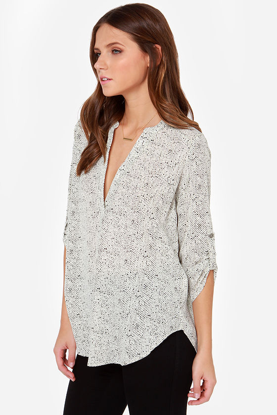V-sionary Black and Cream Dot Print Top at Lulus.com!
