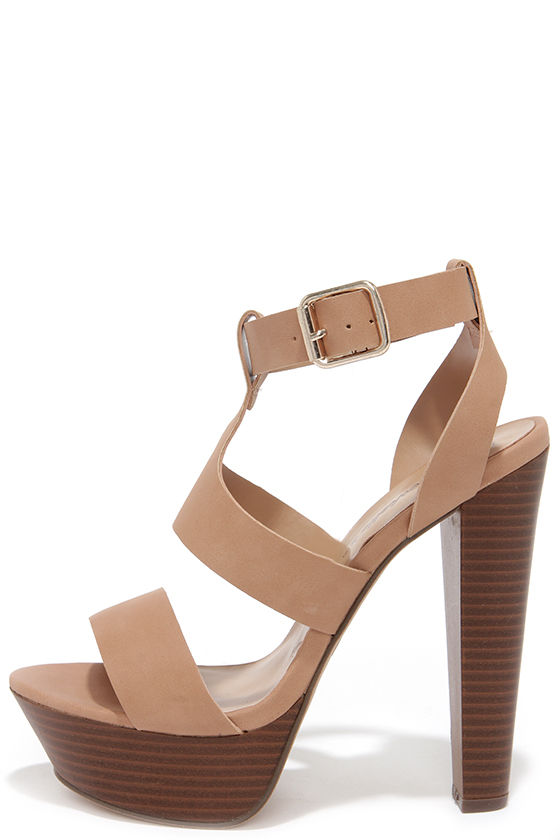 Cute Nude Heels - Platform Heels - Vegan Leather Heels - $31.00