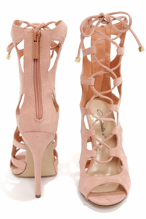 Roma 31 Nude Cutout Lace-Up Booties at Lulus.com!