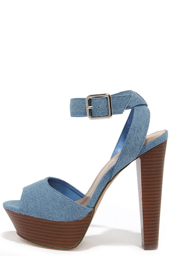 f261488fdbd1fa Cute Blue Denim Heels - Peep Toe Heels - Platform Heels -  31.00