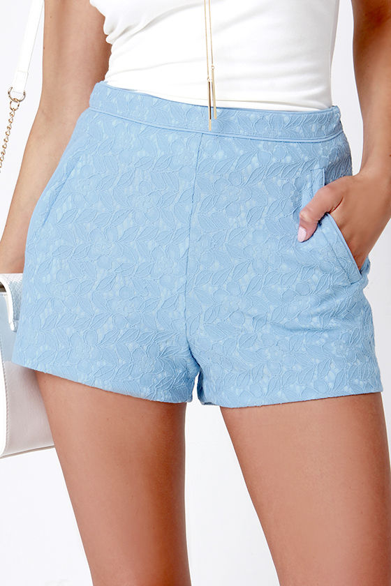 Cute Lace Shorts - Light Blue Shorts - High-Waisted Shorts - $42.00
