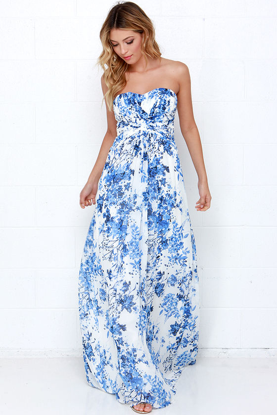 Beautiful Blue And Ivory Maxi Dress Floral Print Dress