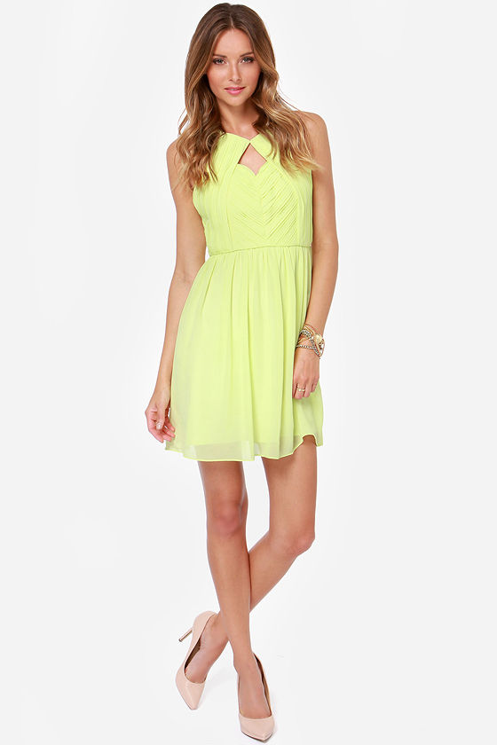 Chance Meeting Pleated Chartreuse Dress at Lulus.com!