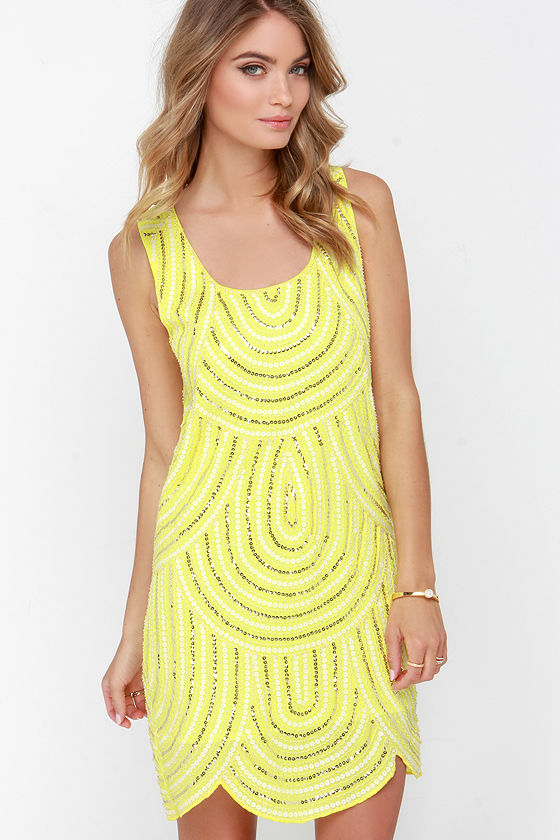 Sequin Dress - Yellow Dress - Shift Dress - $79.00