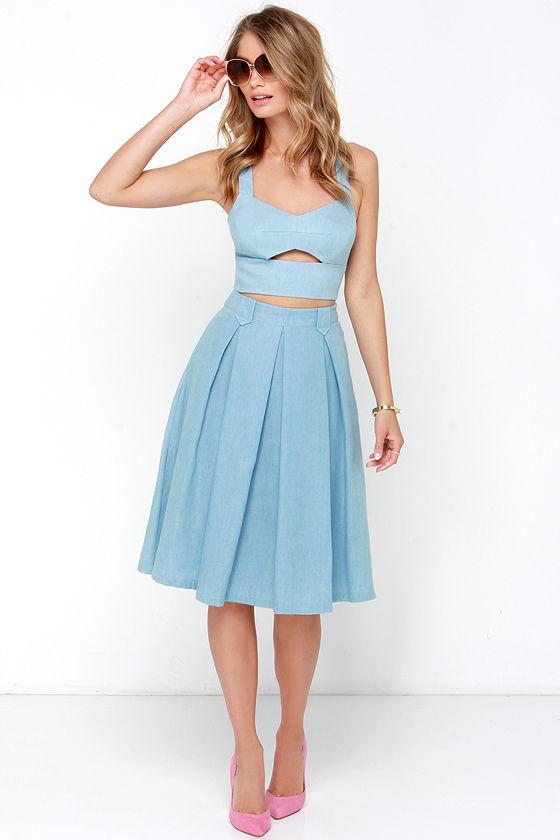 8c9ba6b521a9 Cute Two-Piece Dress - Chambray Dress - Midi Dress - $63.00