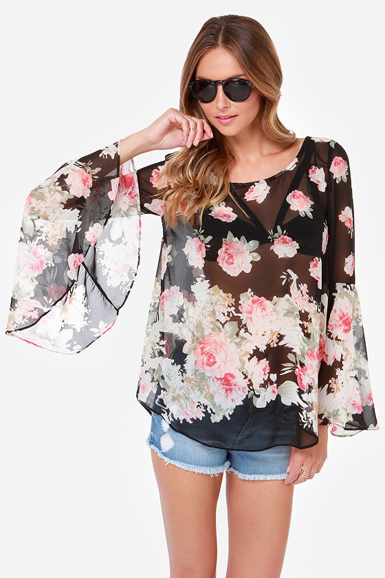 145a1aa53c17bb Cute Floral Print Top - Black Top - Sheer Top -  34.00