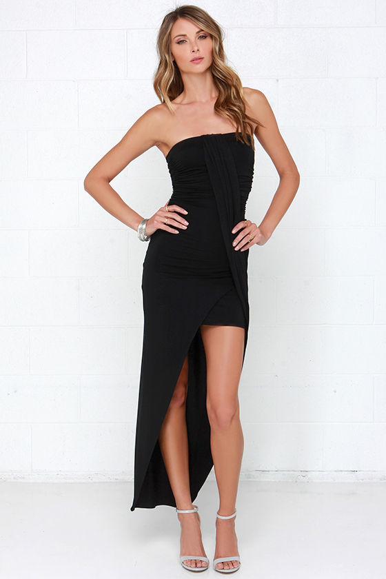 Chic Black Dress - Strapless Dress - Ruched Dress - $37.00