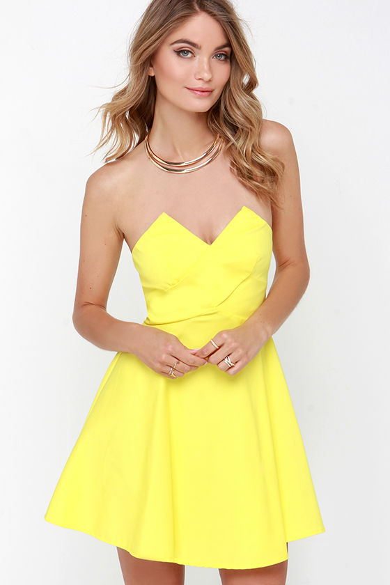 Yellow Dress - Strapless Dress - Skater Dress