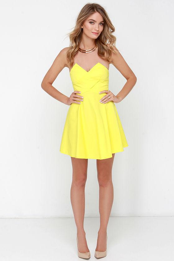 Yellow Dress - Strapless Dress - Skater