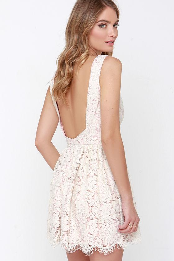 Beige Dress - Lace Dress - Open Back Dress - $65.00