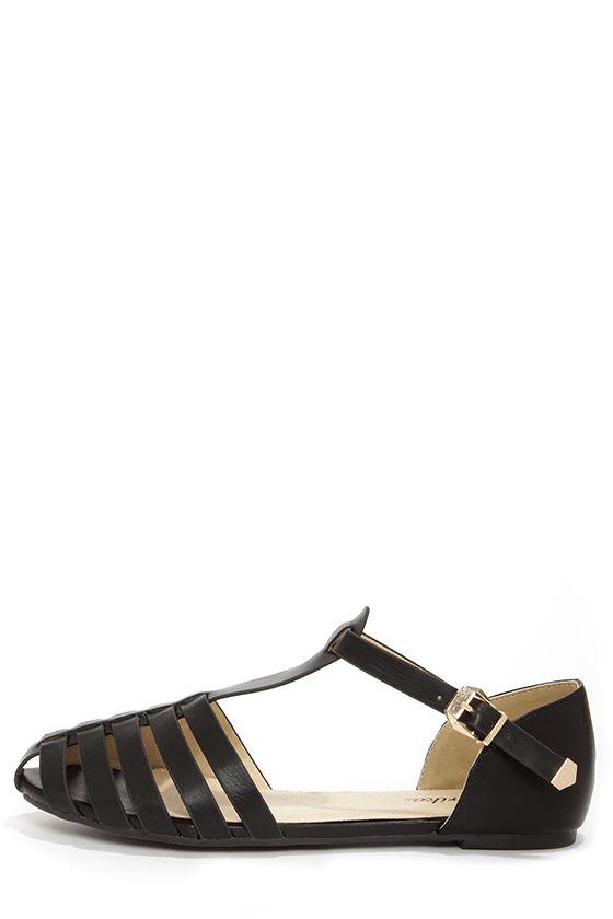black shoes flat sandals caged sandals 20 00