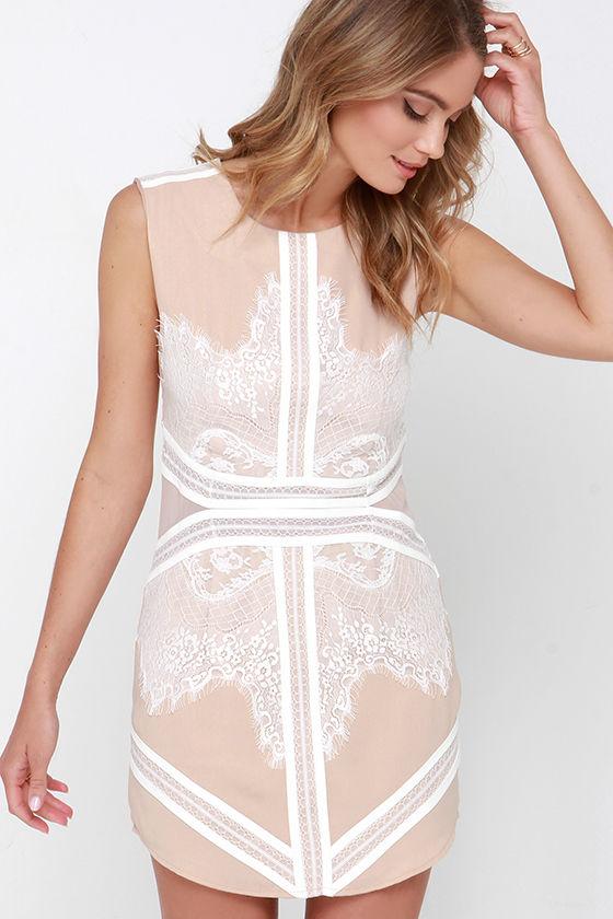 Ivory and Beige Dress - Lace Dress - Sheath Dress - $56.00