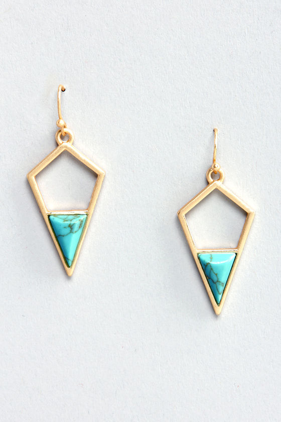 Lost in Shapes Gold and Turquoise Earrings at Lulus.com!