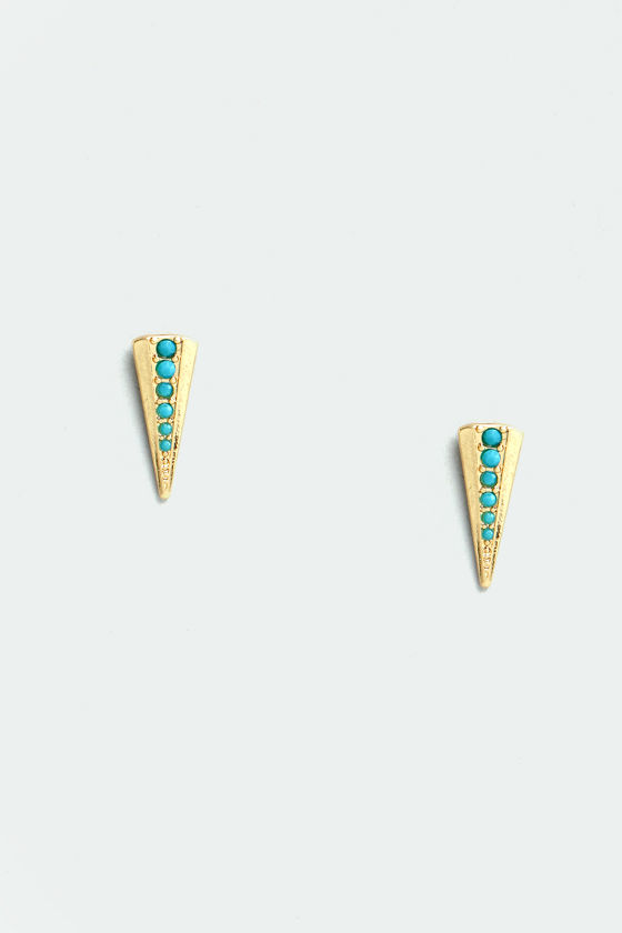 Spikes Storm Gold and Turquoise Earrings at Lulus.com!