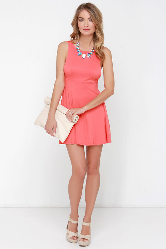 Cute Coral Dress - Skater Dress - Fit-and-Flare Dress - $36.00