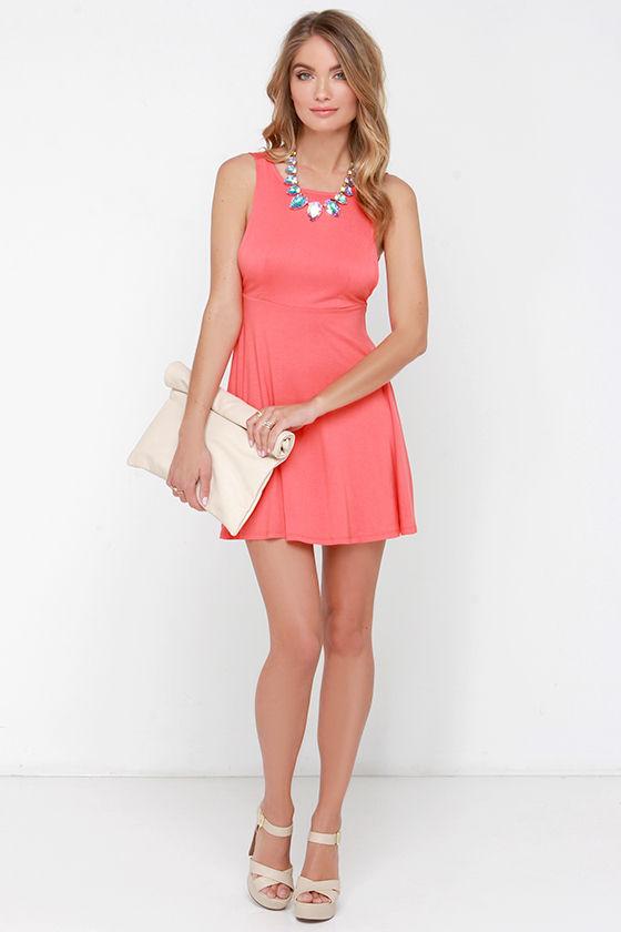 5ac9812da84 Cute Coral Dress - Skater Dress - Fit-and-Flare Dress -  36.00
