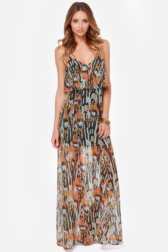 RVCA Jump at Chance Multi Print Maxi Dress at Lulus.com!