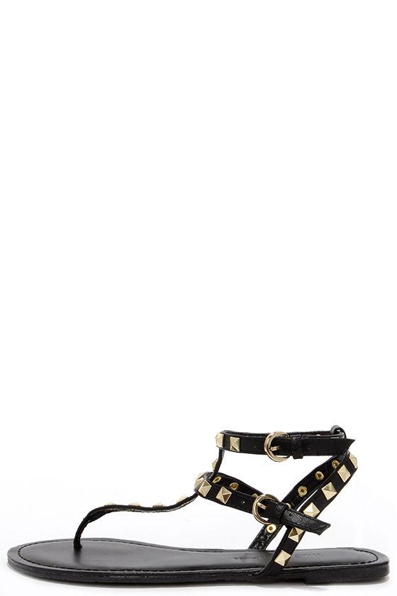 Cool Black Sandals - Gold Studded