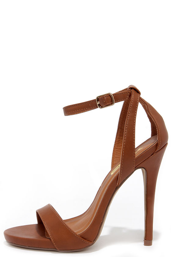 Chic Tan Heels - High Heeled Sandals - Ankle Strap Heels - $31.00