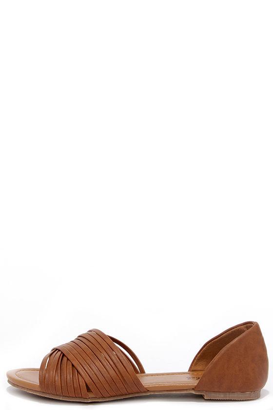 Cute Tan Flats - Peep Toe Flats - Vegan