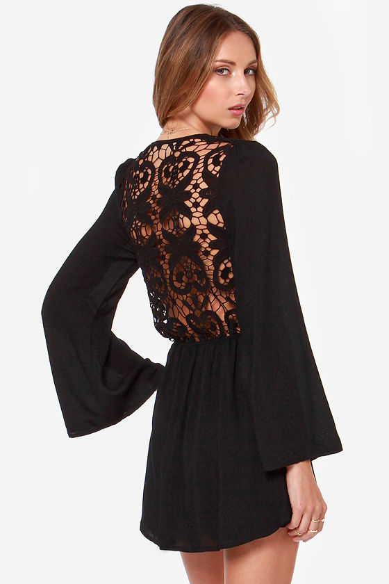 Black dresses with lace back