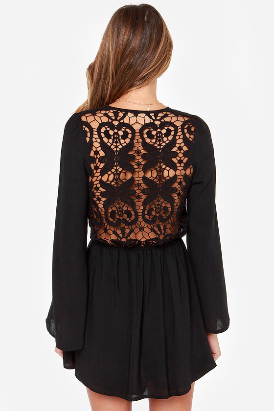 Reverse Crochet Back In the Day Black Lace Dress at Lulus.com!