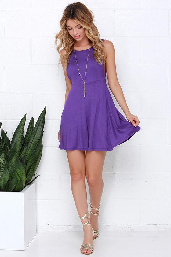 Cute Purple Dress - Skater Dress - Fit-and-Flare Dress -  36.00 7102332a4