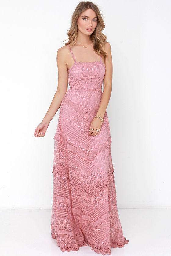 46ae81fcff4 Lovely Dusty Rose Dress - Lace Dress - Maxi Dress - Backless Dress -  69.00