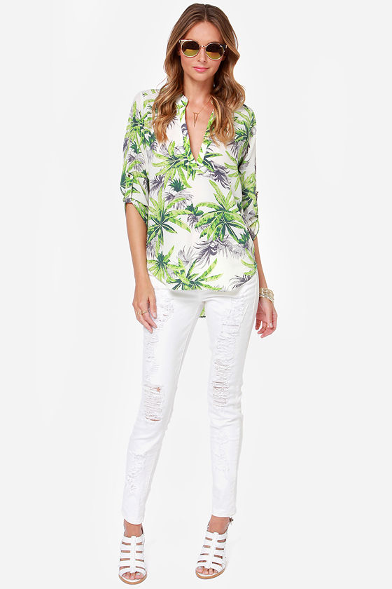 LULUS Exclusive Palm Leader Ivory Palm Print Top at Lulus.com!
