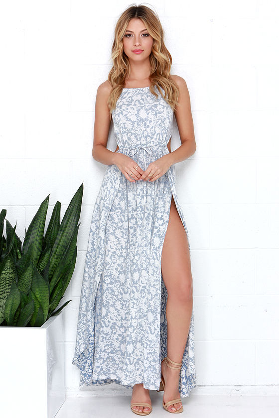 9e388ecb9aa Lovely Floral Print Maxi Dress - Blue and Ivory Dress - Halter Dress ...