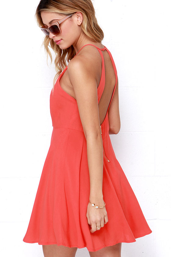 Bright Coral Red Dress - Skater Dress - $46.00