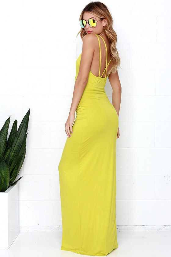 Sexy Chartreuse Dress - Maxi Dress - Strappy Dress - $54.00
