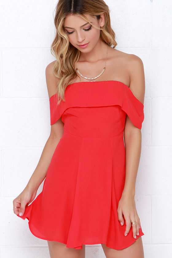 Cute Coral Red Dress - Off-the-Shoulder Dress - $46.00