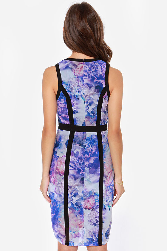 Black Swan Wells Purple Floral Print Midi Dress at Lulus.com!