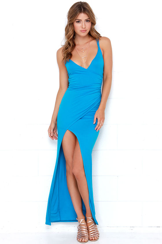ad201fda293 Sexy Blue Dress - Maxi Dress - Strappy Dress - $54.00