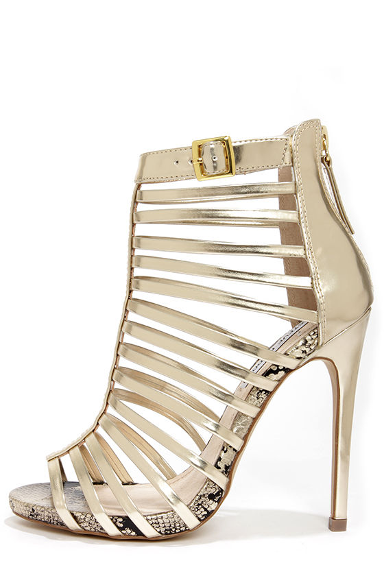 Sexy Gold Heels - High Heel Booties - $99.00