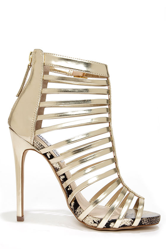 Steve Madden Marnee Gold Caged High Heel Booties at Lulus.com!