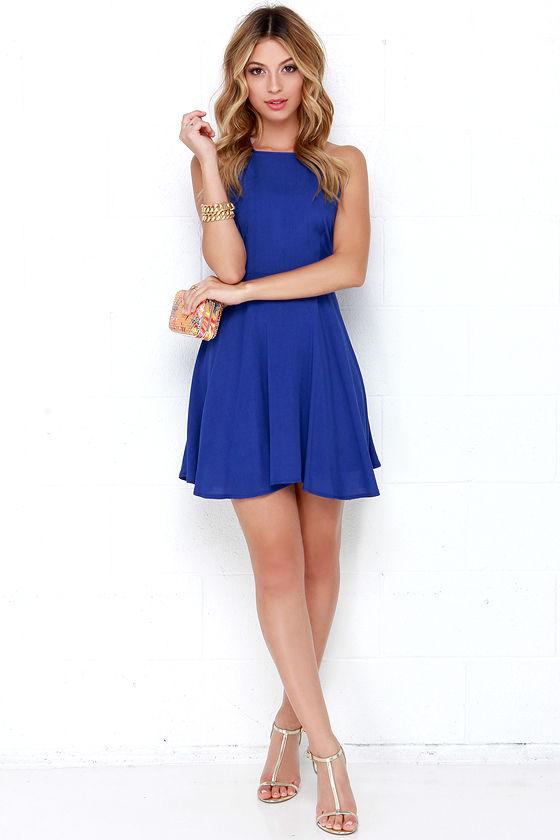 Bright Royal Blue Dress - Skater Dress - $46.00 - photo #15