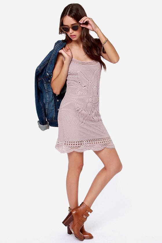 Volcom Dwell Taupe Crochet Dress at Lulus.com!