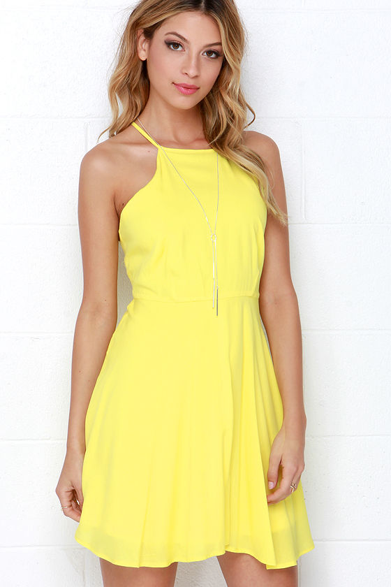 fd5293c9e7d Bright Yellow Dress - Skater Dress -  46.00