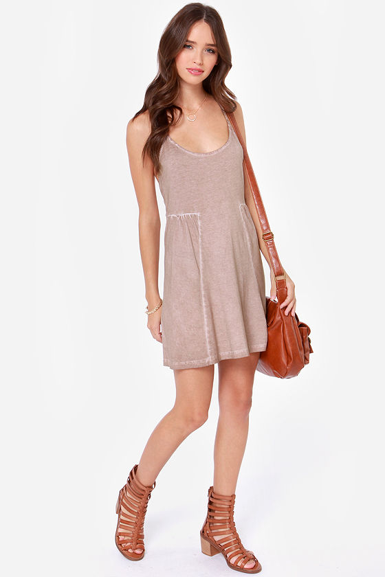 Volcom Back Talk Beige Dress at Lulus.com!