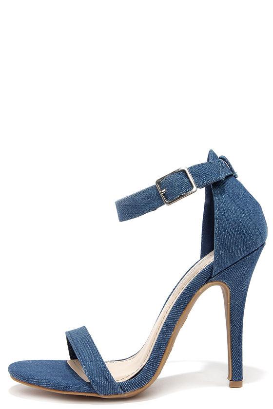 4234035736 Sexy Single Strap Heels - Blue Denim Ankle Strap Heels