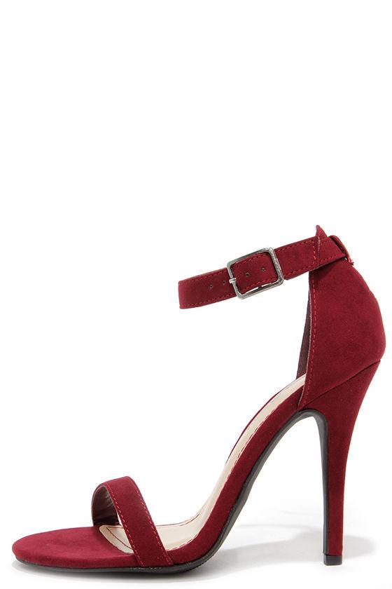 5d523ed86 Sexy Single Strap Heels - Wine Ankle Strap Heels