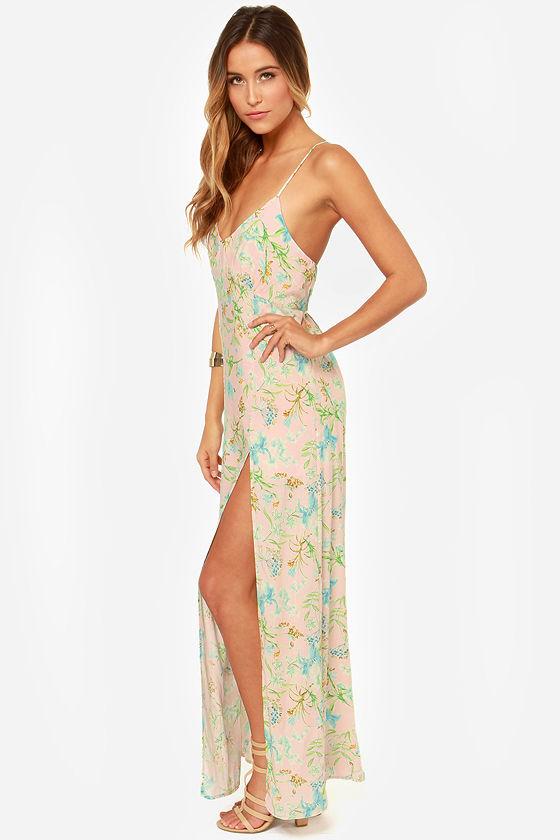 Garden Goddess Light Pink Floral Print Maxi Dress at Lulus.com!