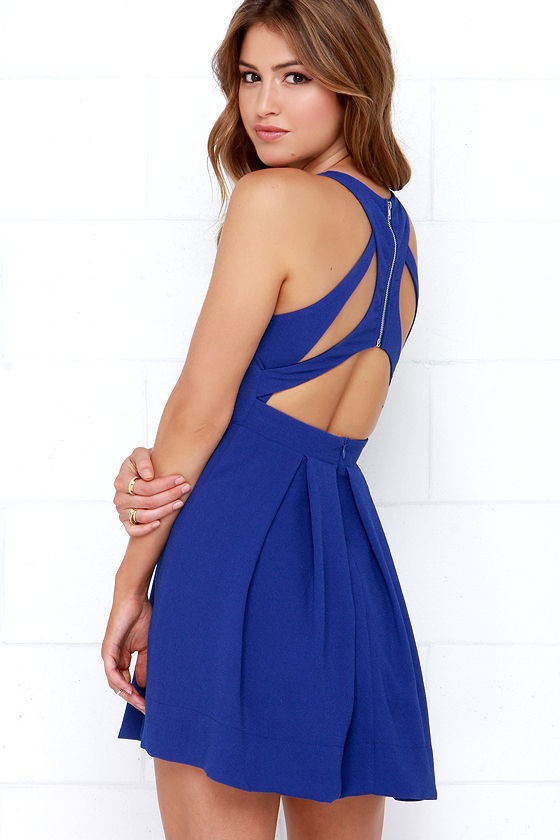 Cobalt Blue Skater Dress - Homecoming Dress - $45.00