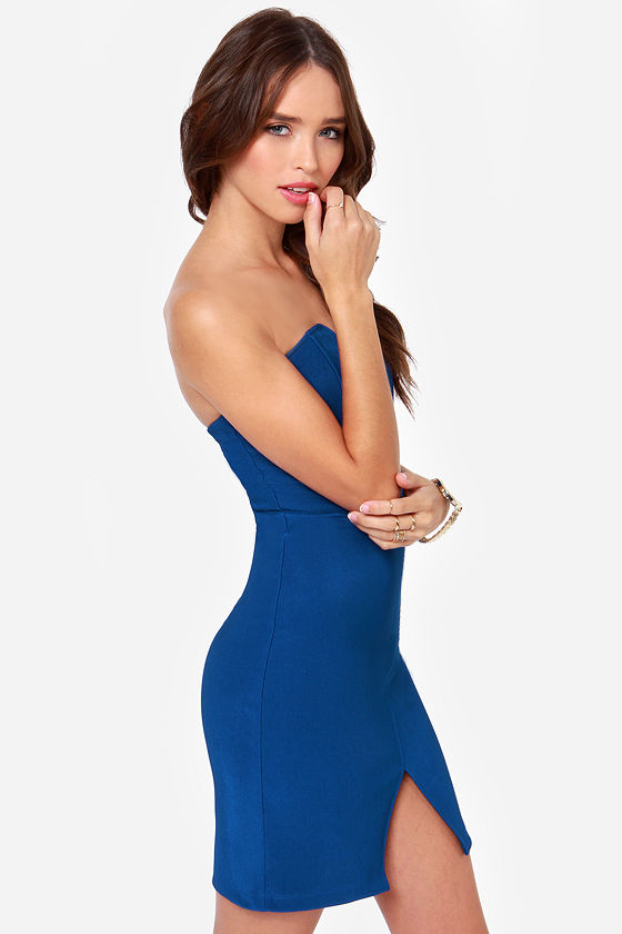 LULUS Exclusive Bodycon and Soul Strapless Blue Dress at Lulus.com!