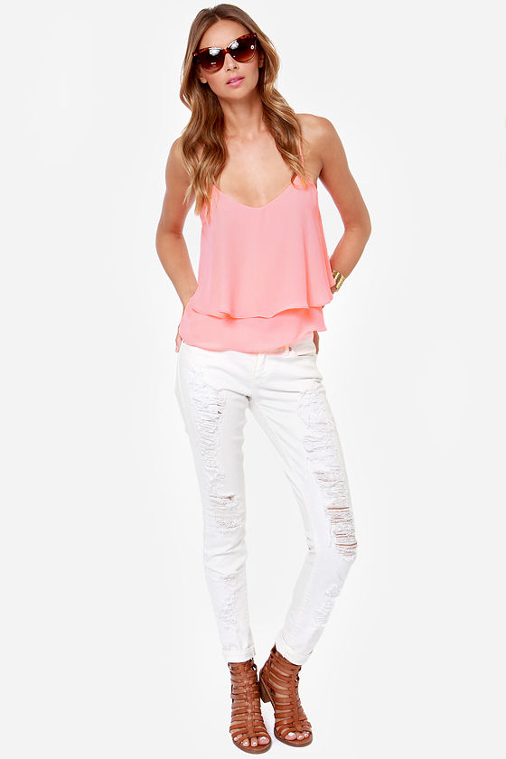 Adjust in Case Neon Coral Tank Top at Lulus.com!