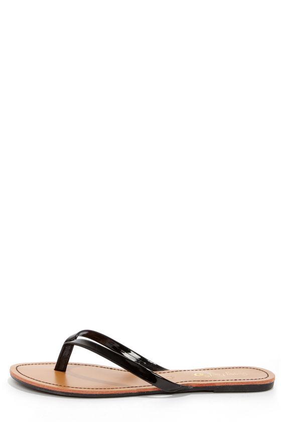 67f9a5b81952 Cute Black Flip Flops - Patent Flip Flops -  12.00